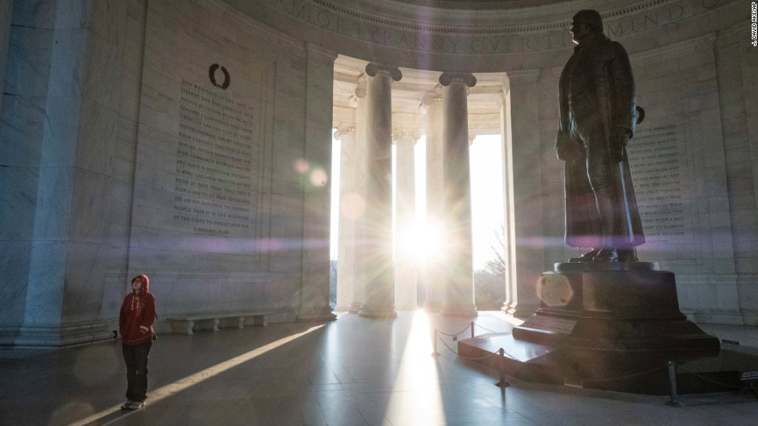 <strong>Washington: </strong>A tourist visits the Jefferson Memorial, dedicated to American Founding Father Thomas Jefferson, on US President's Day on February 20. <br />