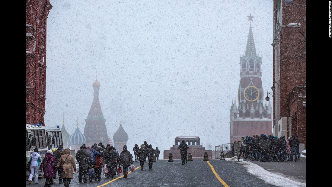 <strong>Moscow:</strong> Moscow's Red Square is pictured during a February snowfall. St Basil's Cathedral appears background left, and the Kremlin's Spasskaya tower is on the right.