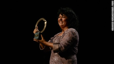 Berta Caceres won the presigious Goldman Environmental Prize in 2015.