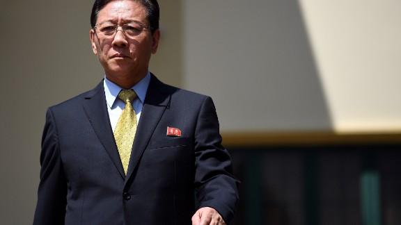Kang Chol, North Korea's ambassador to Malaysia, walks to address journalists outside the North Korean Embassy in Kuala Lumpur on Monday, February 20.