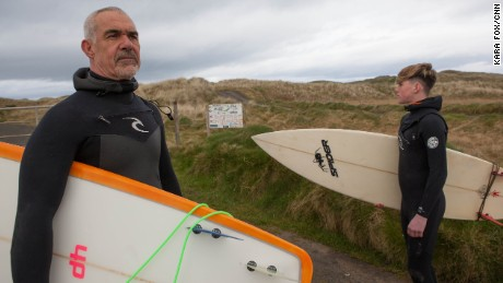 Alan Coyne (left) and Darragh Flynn from the West Coast Surf Club fear the wall would change the unique tidal system in Doughmore Bay, which attracts surfers from around the world.