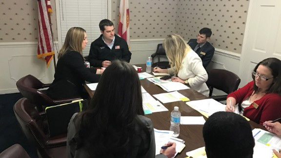 Rep. Gaetz meets with staffers ahead of his town hall and public appearances.