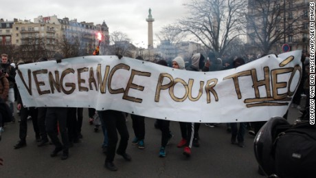 Protesters rally in Paris' Place de la Nation.