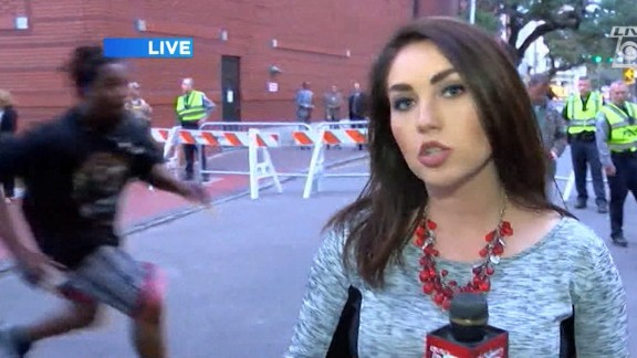 Moye runs on camera during a live broadcast last year.