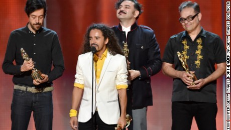 PASADENA, CA - OCTOBER 10:  Musicians Emmanuel del Real, Ruben Isaac Albarran Ortega, Enrique Rangel and Joselo Rangel of Cafe Tacvba accept the NCLR ALMA de Tu Mundo Award onstage during the 2014 NCLR ALMA Awards at the Pasadena Civic Auditorium on October 10, 2014 in Pasadena, California.  (Photo by Kevin Winter/Getty Images for NCLR)