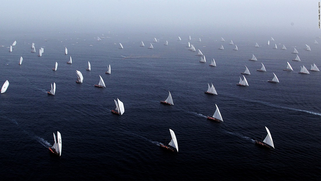 Some dhows are now being used for racing. The Al-Gaffal dhow race takes place off the coast of Dubai in May every year.