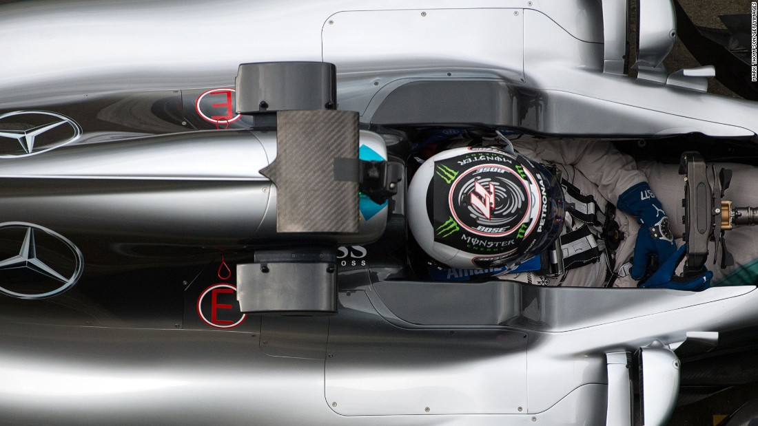 An overhead shot of former Williams driver Bottas in the cockpit of the new car at Silverstone.