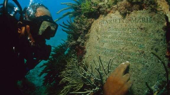 Michael Cottman at the underwater memorial that honors the African lives lost during the passages of the Henrietta Marie slave ship.