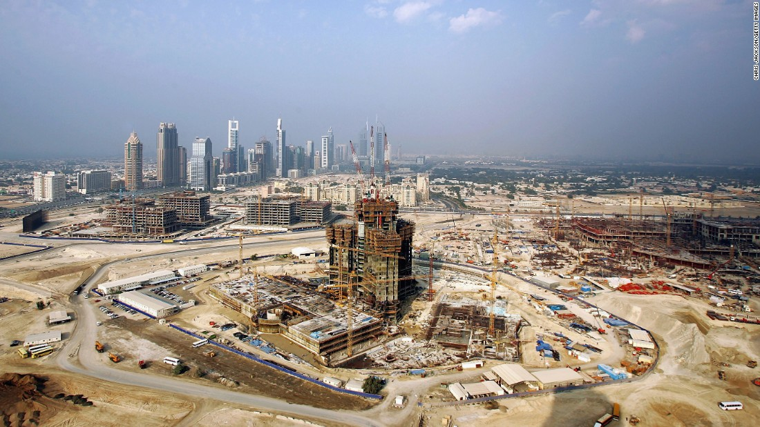 An eye-catching symbol of Dubai's ambitions is the Burj Khalifa, pictured under construction in 2005. <br />