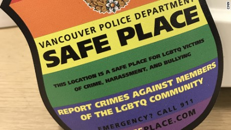 Safe Place stickers identify businesses as places where hate crime victims can shelter while waiting for police.