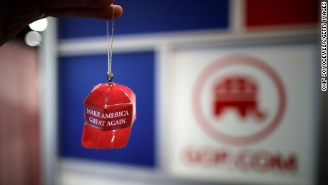 "Metal ""Make America Great Again"" Christmas ornaments are available for sale at CPAC 2017."