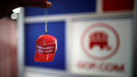 """Metal """"Make America Great Again"""" Christmas ornaments are available for sale at CPAC 2017."""