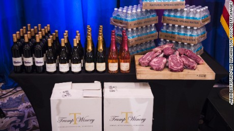 A display including Trump branded wine, champaign, water and steaks is seen before republican presidential candidate Donald Trump is expected to speak at a campaign press conference event at the Trump National Golf Club in Jupiter, Florida on March 08, 2016.