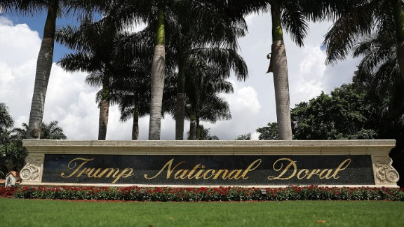 A sign reading Trump National Doral is seen on the grounds of the golf course owned by Donald Trump on June 1, 2016 in Doral, Florida.