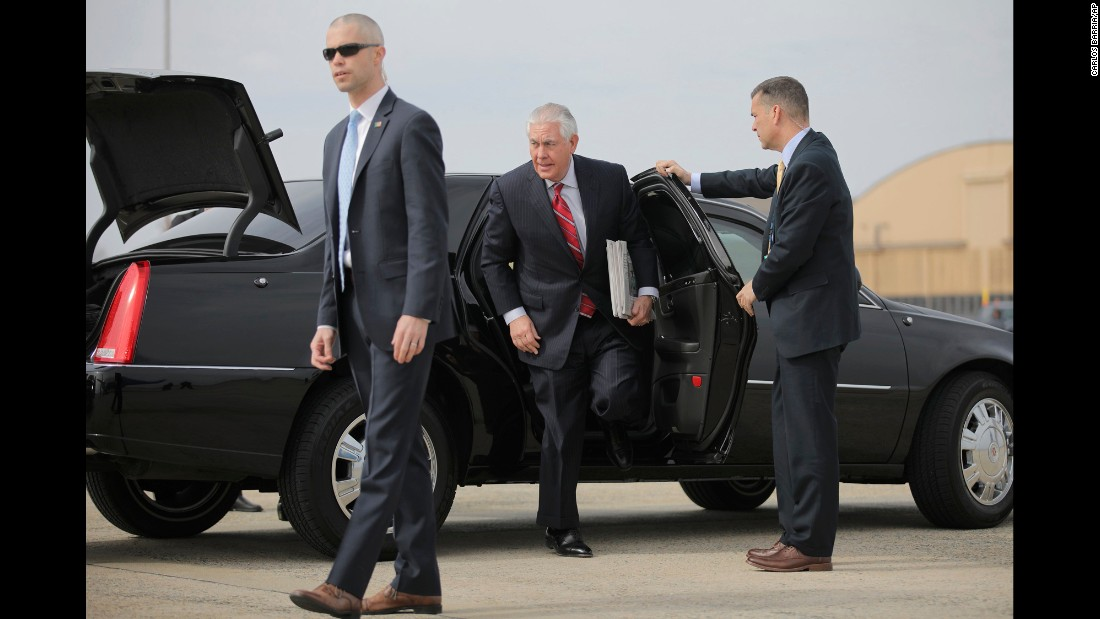 "US Secretary of State Rex Tillerson exits a car before leaving for Mexico on Wednesday, February 22. Tillerson and John Kelly, the Homeland Security secretary, went to Mexico <a href=""http://www.cnn.com/2017/02/23/politics/tillerson-kelly-mexico-statements/index.html"" target=""_blank"">to try to smooth the two countries' relationship</a> and address some of the differences that have emerged between the United States and its neighbor to the south."