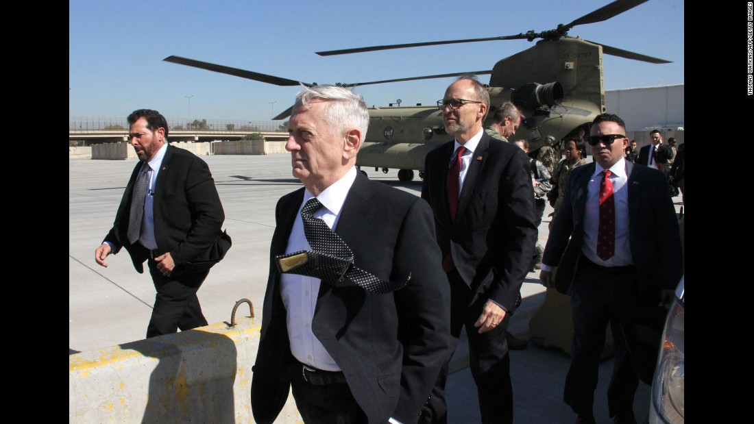 "US Defense Secretary James Mattis, second from left, arrives in Baghdad, Iraq, on Monday, February 20. Mattis told reporters that <a href=""http://www.cnn.com/2017/02/20/politics/mattis-baghdad-visit/"" target=""_blank"">he was heading to Baghdad</a> ""because I need to get current on the situation there, the political situation, the enemy situation and the friendly situation."" Mattis said he wanted to speak with the Iraqi political leadership and US partners."