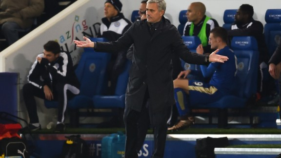 Mourinho, then-manager of Chelsea, reacts during the league match between Leicester City and Chelsea that led to his sacking in 2015.