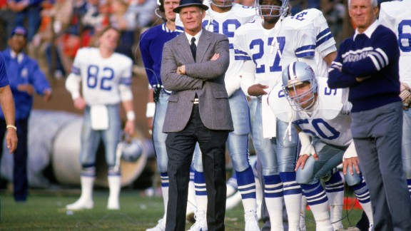 Head coach Tom Landry of the Dallas Cowboys watches from the sideline during a game in the 1988 season.  Tom Landry coached the Cowboys from 1960 to 1988, leading them to two Super Bowl victories.