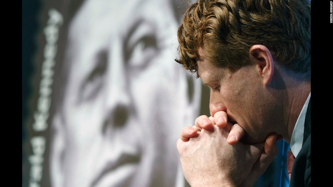 US Rep. Joe Kennedy III attends the dedication ceremony for the John F. Kennedy centennial stamp, which was unveiled in Boston on Monday, February 20. The former US president is Joe Kennedy's great-uncle.