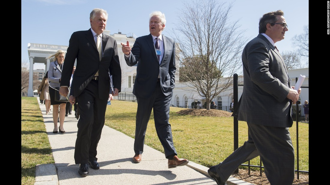 "General Electric CEO Jeff Immelt speaks to Caterpillar CEO Doug Oberhelman as they leave a White House meeting on Thursday, February 23. President Trump <a href=""http://money.cnn.com/2017/02/23/news/trump-manufacturing-ceos/"" target=""_blank"">met with the heads of two dozen manufacturing companies</a> in what the White House called a ""listening session."""