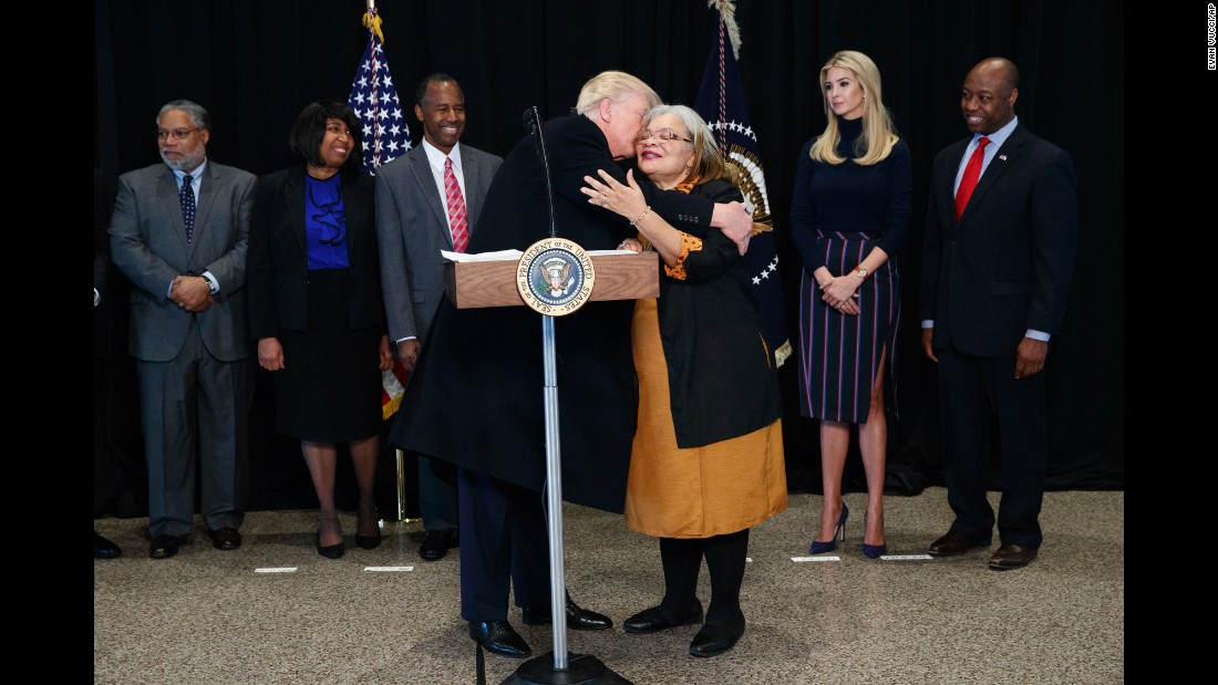 "President Trump hugs Alveda King, the niece of civil rights icon Martin Luther King Jr., after touring the National Museum of African American History and Culture on Tuesday, February 21. Trump pledged to combat bigotry and unite what he called a ""divided country"" after <a href=""http://www.cnn.com/2017/02/21/politics/donald-trump-visits-african-american-museum/"" target=""_blank"">visiting the museum,</a> which opened in September."