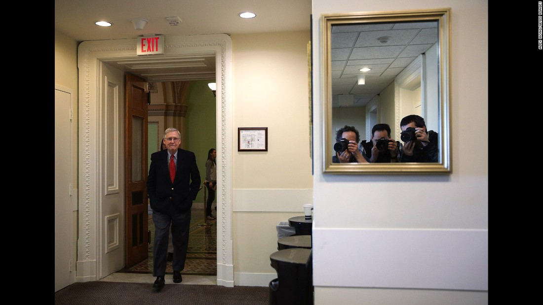 "Senate Majority Leader Mitch McConnell arrives for a news conference at the US Capitol in Washington on Friday, February 17. <a href=""http://www.cnn.com/2017/02/18/politics/gallery/week-in-politics-0219/index.html"" target=""_blank"">See the previous week in politics</a>"