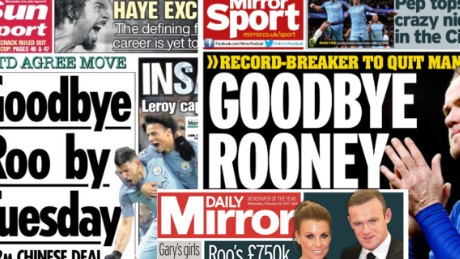 Reports in some British newspapers said Rooney was on the verge of a big-money move to China