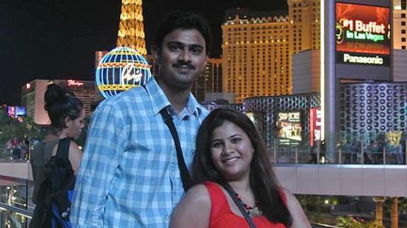 In this undated photo provided by Kranti Shalia, Srinivas Kuchibhotla, left, poses for photo with his wife Sunayana Dumala in Las Vegas.