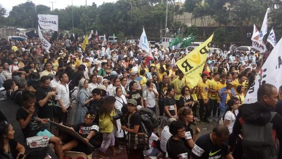 Filipinos mark the anniversary of the 1986 uprising against dictator Ferdinand Marcos Saturday.
