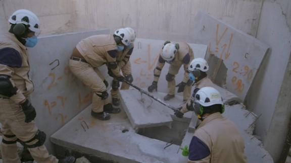 "A scene from Netflix's ""The White Helmets"" documentary"