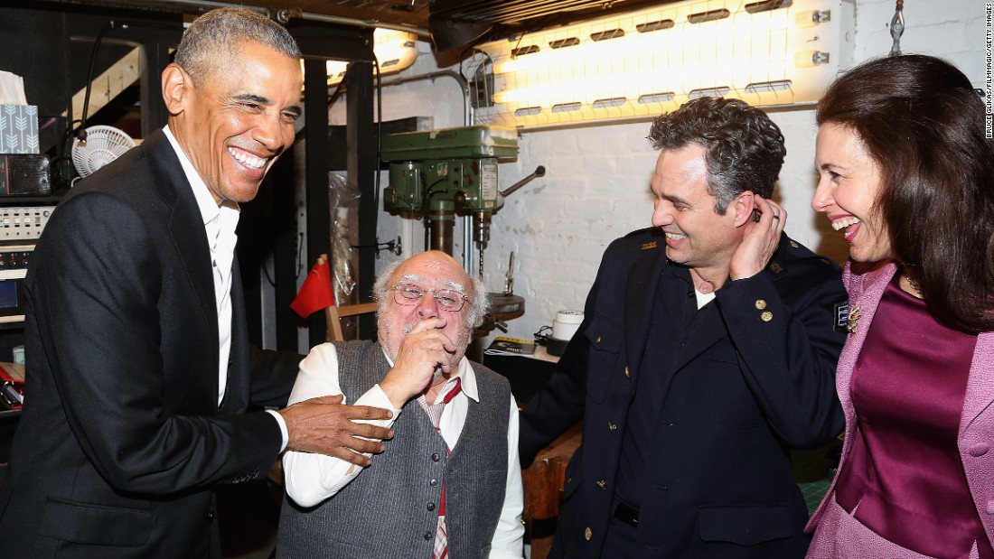 "Former President Barack Obama, Danny DeVito, Mark Ruffalo and Jessica Hecht chat backstage at The Roundabout Theatre Company's production of Arthur Miller's ""The Price"" on Broadway on Friday, February 24, in New York."