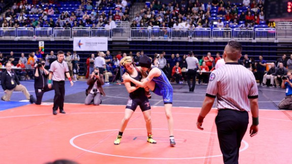 Mack Breggs wrestlers a competitor at the UIL wrestling state championship on February 25, 2016.