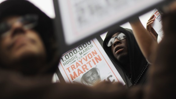"""Supporters of Trayvon Martin rally in Union Square during a """"Million Hoodie March"""" in Manhattan on March 21, 2012 in New York City."""