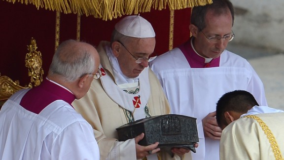 Pope Francis holds a box -- found in a tomb beneath Saint Peter