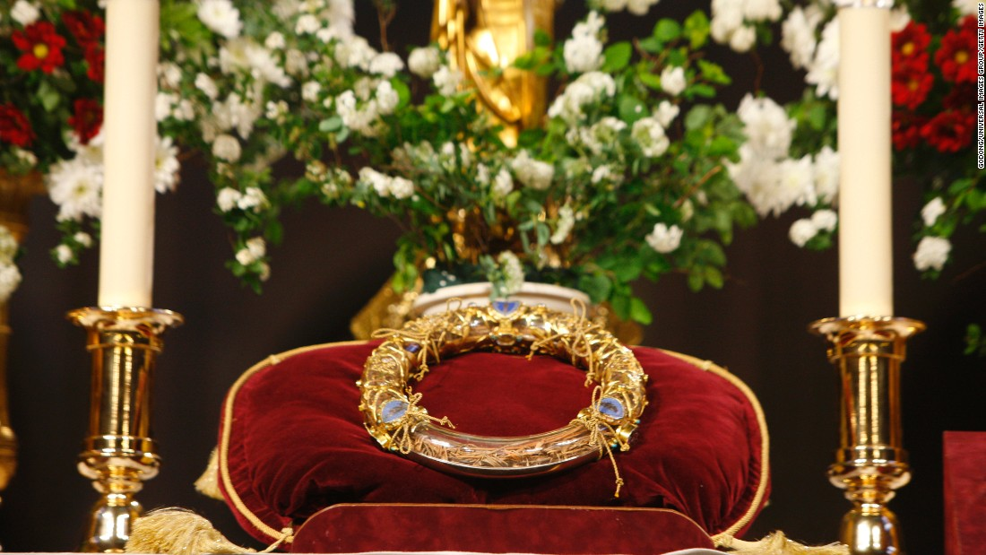 According to the Bible, a crown of thorns was placed on Jesus' head before his crucifixion. Today a number of relics of the crown are venerated by Christians. The one pictured above is held in Paris' Notre Dame Cathedral.