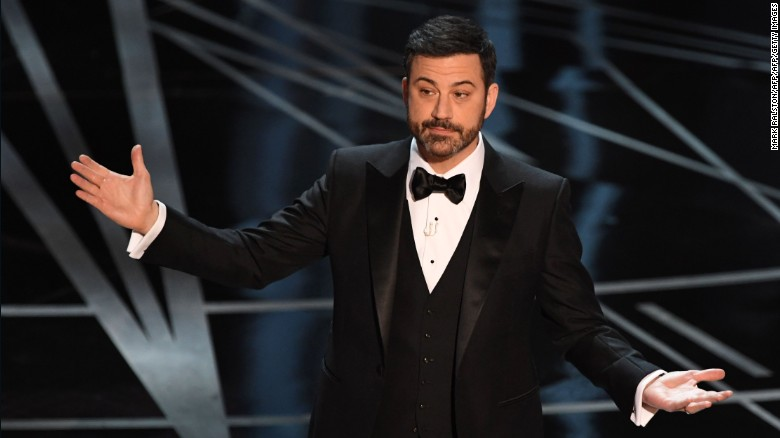 Host Jimmy Kimmel delivers a speech on stage at the 89th Oscars