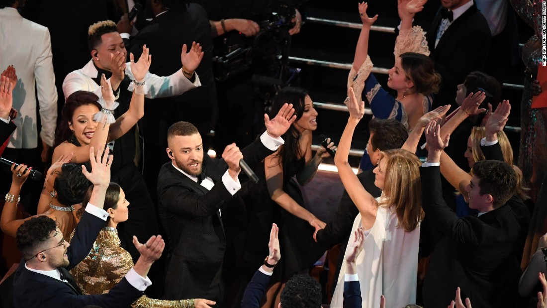 "Justin Timberlake opened the show by singing his hit ""Can't Stop The Feeling."" It was one of the nominees for best original song."