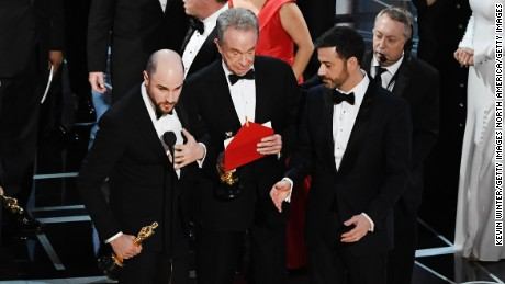 'La La Land' producer Jordan Horowitz  announces the actual best picture winner as 'Moonlight' after a presentation error.