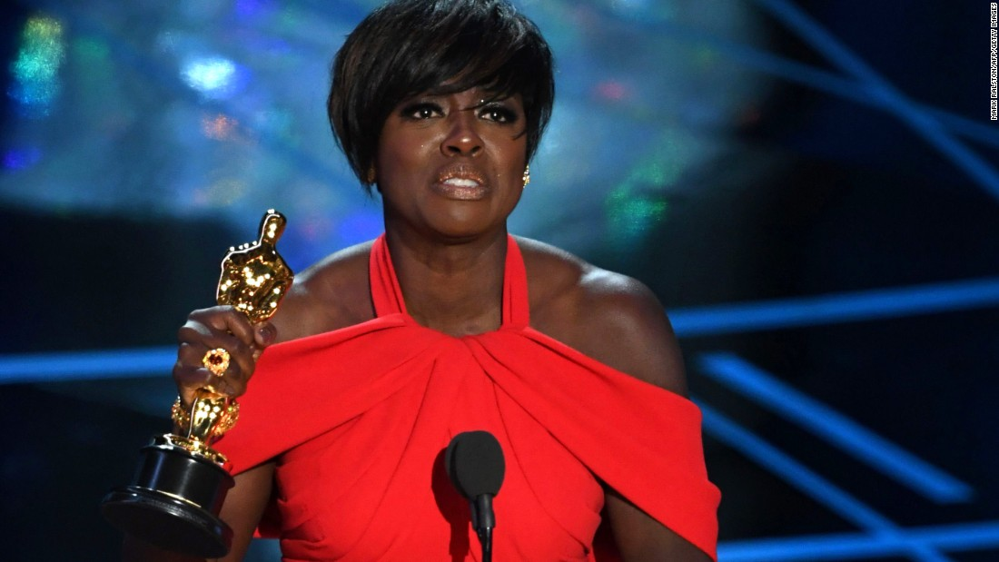 "Viola Davis accepts the best supporting actress Oscar. Davis won for her role in ""Fences,"" a Denzel Washington movie based on August Wilson's play."
