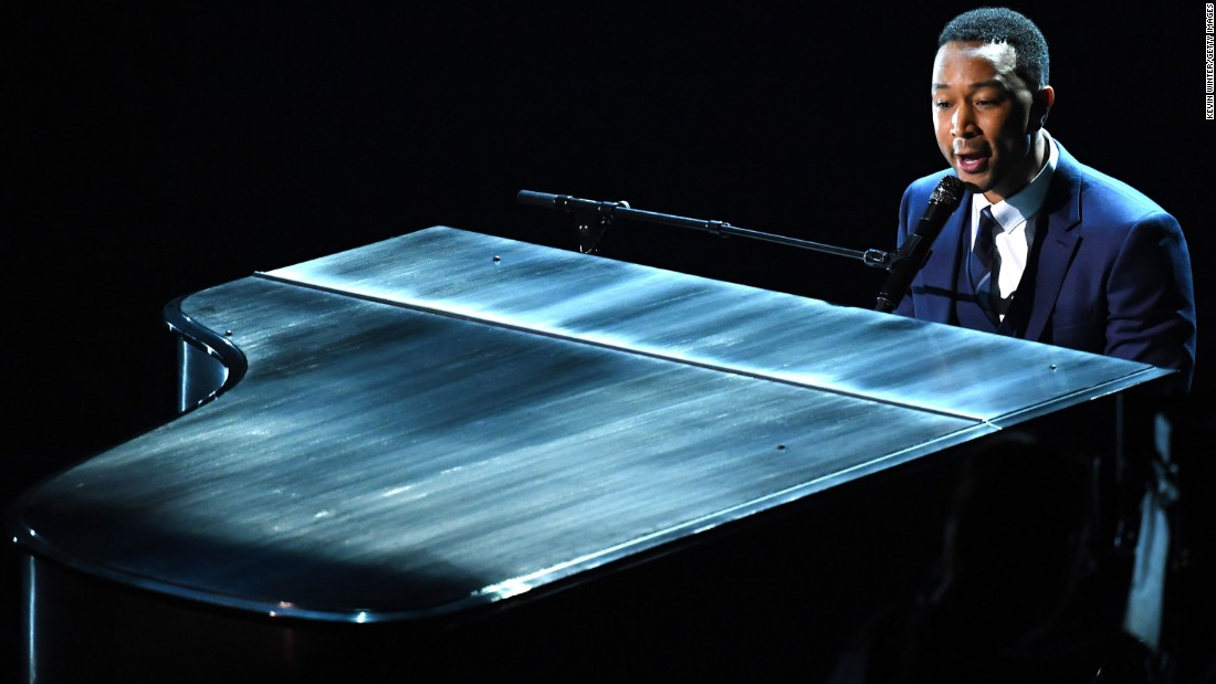 "John Legend performed ""City of Stars"" on stage."