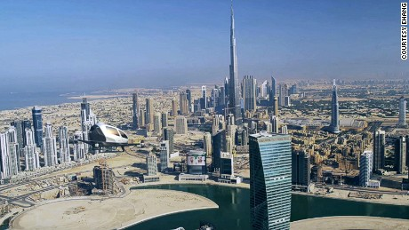 Dubai has become a testing ground for future transport technology. Here, a flying taxi is pictured above the city.