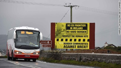 A sign campaigning against a so-called hard Brexit on the Irish border.