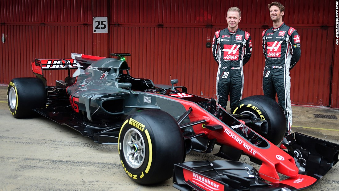 The American Haas F1 team launched its new car on the opening day of preseason testing in Barcelona on February 27. French Romain Grosjean is pictured with new Danish teammate Kevin Magnussen (left).