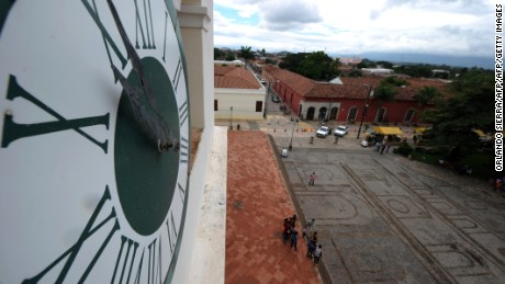 View of the oldest clock in Central America, which was given in 1711 by the the King of Spain Felipe II for the city cathedral, at the colonial city of Comayagua, the former Honduran capital, on November 8, 2014.  AFP PHOTO/Orlando SIERRA        (Photo credit should read ORLANDO SIERRA/AFP/Getty Images)