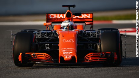 MONTMELO, SPAIN - FEBRUARY 27: Fernando Alonso of Spain driving the (14) McLaren Honda Formula 1 Team McLaren MCL32 on track  during day one of Formula One winter testing at Circuit de Catalunya on February 27, 2017 in Montmelo, Spain.  (Photo by Dan Istitene/Getty Images)