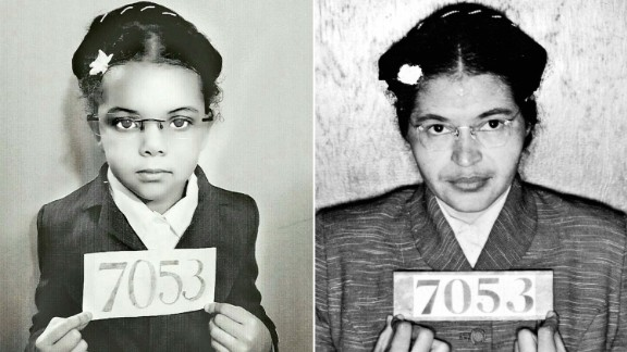 Lola, left, in a photo paying homage to civil rights hero Rosa Parks.