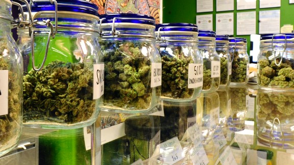 DENVER, CO - April 25, 2016: Selections of sativa and indica dominant cannabis strains on display at The Colfax Pot Shop, an adult-use marijuana dispensary on Colfax Ave in Denver. (Photo by Vince Chandler / The Denver Post)