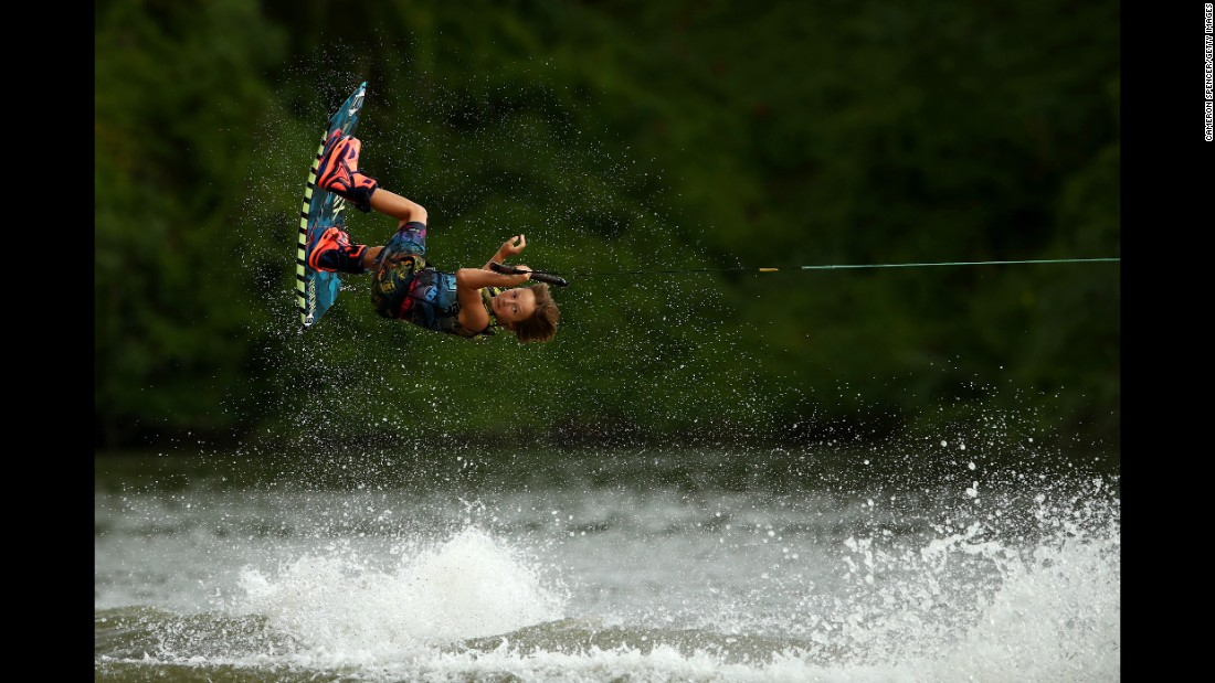 Young wakeboarder Jett Ellis competes in the 10-14 age group during a state competition in Sydney on Sunday, February 26.