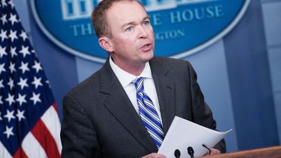Office of Management and Budget Director Mick Mulvaney speaks about US President Donald Trump