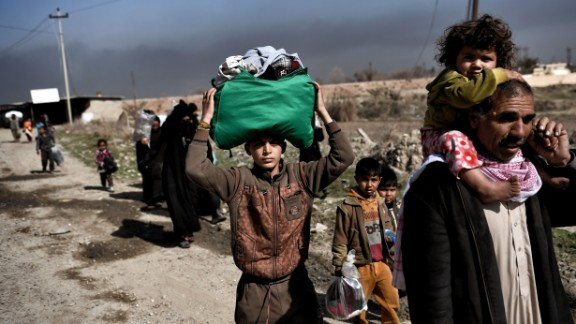 Displaced Iraqis flee Mosul this week during an operation to retake the city from ISIS.